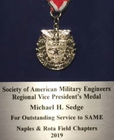 Sedge Receives SAME Regional Vice President's Medal